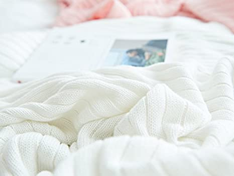 Blanco 150cm*200cm AliceHome Manta de punto de 100/% algod/ón