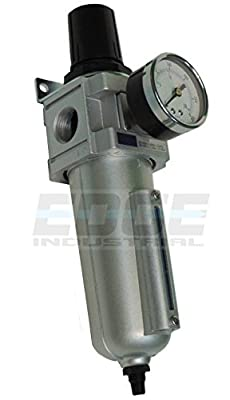 "Heavy Duty Compressed Air Filter Regulator Combo Piggyback, Auto Drain, Metal Bowl, 3/4"" Npt Ports, 140 Cfm, Visible Sight Glass, 5 Micron Element"