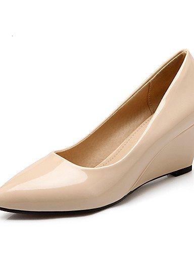 GGX/ Damen / Mädchen-High Heels-Büro / Kleid / Lässig-Kunstleder-Keilabsatz-Wedges / Absätze-Schwarz / Rot / Mandelfarben almond-us8 / eu39 / uk6 / cn39