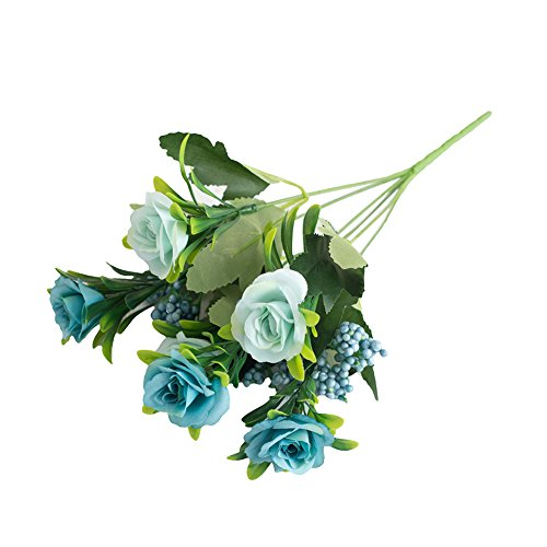 dezirZJjx Artificial Plants 1Pc Romantic Fake Roses 6 Heads Artificial Flower Wedding Home Garden Decoration - Blue
