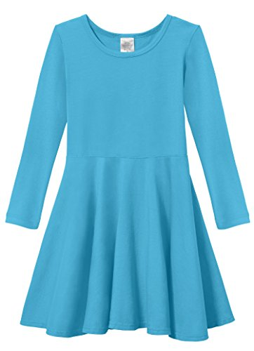 Party Cities Usa (City Threads Big Girls' Super Soft Cotton Long Sleeve Twirly Skater Party Dress, Turquoise,)