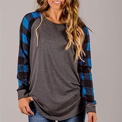 Accogliente Fit Lunghe Tshirt Maniche Camicetta Manica A Hipster Camicia Casual Chic Blau Irregolare Di Donna Elegante Autunno Moda Slim Tops Giovane Reticolo Primaverile Shirts Lunga Ragazza x0C7Rn7w