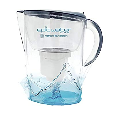Epic Nano Water Filter Pitcher   Navy   3.5L   BPA-Free   Nanofiltration Removes Fluoride, Bacteria, Virus, Giardia, Cryptosporidium, E-Coli, Lead, Chromium 6, PFOS, PFOA, Heavy Metals, Pesticides