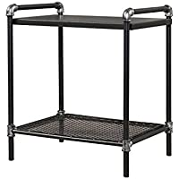 Supernova Retro Antique Industrial Vintage Square Nightstand End Table Side Table (No Casters, Silver Black)