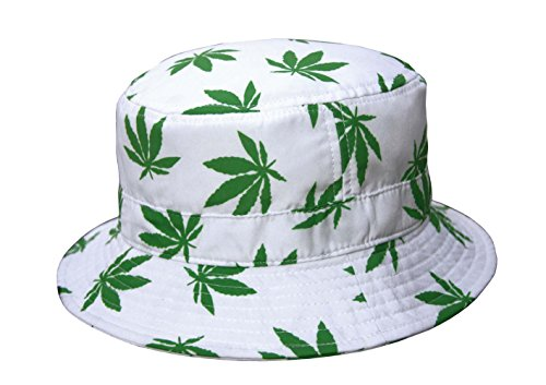 Lightweight Marijuana Weed Cannabis Bucket Sun Hat White S/M