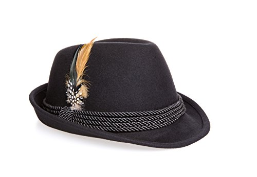 Holiday Oktoberfest Wool Bavarian Alpine Hat - Black Color, (XL) ()