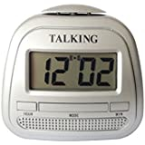 Kwanwa Talking Alarm Clock With Big Time Display And Loud Talking Voice.Classtic silver Colour