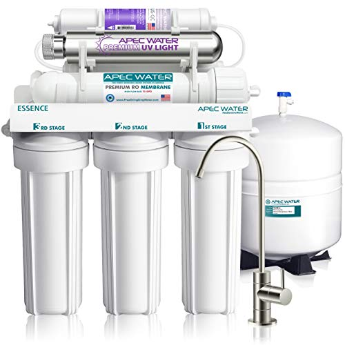 (APEC Water Systems ROES-PHUV75 Essence Series Top Tier Alkaline Mineral and Ultra-Violet UV Sterilizer 75 GPD 7-Stage Ultra Safe Reverse Osmosis Drinking Water Filter System)