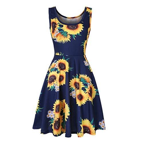 Caopixx Boho Dress, Summer Dress Women Vintages Sleeveless Beach Dress Floral Tank Short Mini Dress (Small, H-Navy) ()