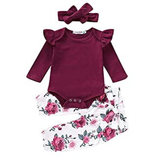 Baby Girls 3PCS Infant Toddler Clothes Romper Bodysuit Floral Halen Tops Pants Clothing Sets Headband Outfits