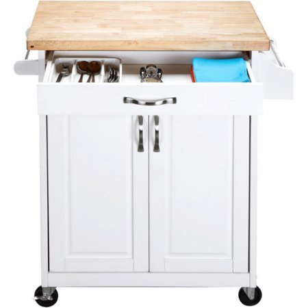 Kitchen Cart Rolling Island Storage Unit Cabinet Utility Portable Home Microwave Wheels Butcher Wood Top Drawer Shelf (White) by Mainstay (Image #6)