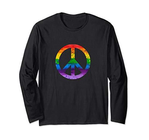 Hippie Peace Sign Lgbt Flag Rainbow TShirt Gay Lesbian Flags Long Sleeve T-Shirt -