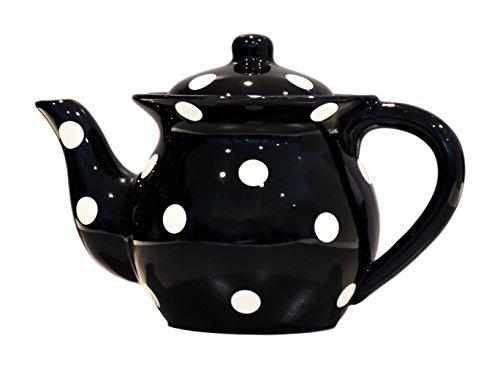 """Black Teapot w/White Dots, 8-1/2""""H"""