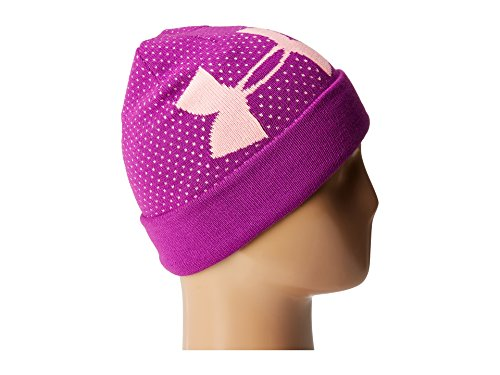 Under Armour Girl's Favorite Beanie (Little Kids/Big Kids) Purple Rave/Pop Pink/White Hat by Under Armour (Image #4)