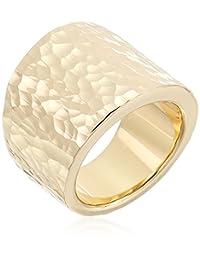 14K Yellow Gold Nano Diamond Resin Hammered Ring, Size 8
