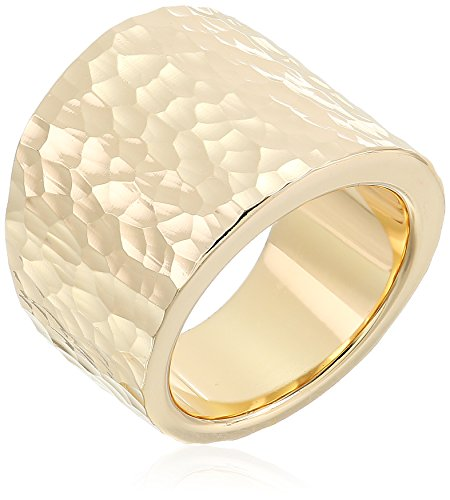 14K Yellow Gold Nano Diamond Resin Hammered Ring, Size 8
