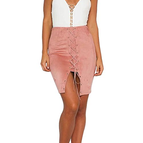 Rela Bota Women's High Waist Criss Cross Lace up Slit Tight Solid Bandage Suede Leather Mini Pencil Skirt Small Pink ()