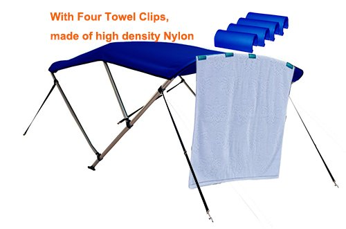 RockyMRanger 3 Bow Boat Navy Blue Bimini Top With Free Clips Sun Canopy Cover 6 ft Length 73-78 Beam YB3N3