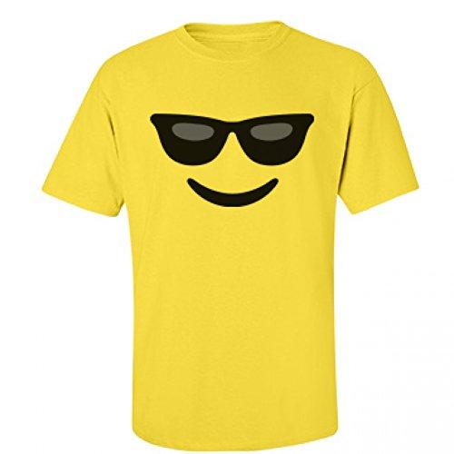 [Funny Sunglasses Emoji Costume: Unisex Fruit of the Loom T-Shirt] (Heavyweights Halloween Costume)