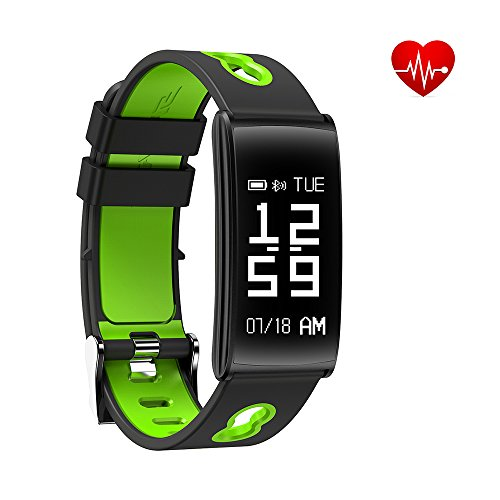 Guzack Fitness Tracker Bracelet With Wrist Based Heart Rate Blood Pressure Monitor Bluetooth Call Remind Remote IP68 Waterproof Smart Watch Wireless Pedometer Band Sleep Monitor For Android iOS Phone