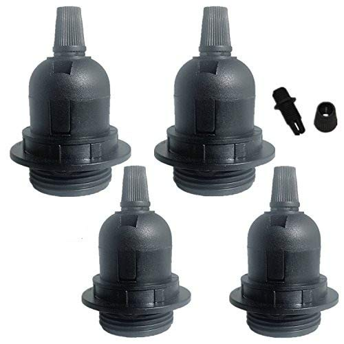 4pack Black E26 E27 Light Socket Pendant Lamp Holder For Lamp Socket And Fixture Replacement Plastic Lamp Socket for DIY Projects Without Switch ,4-pack