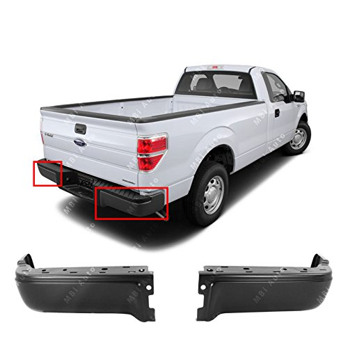 (MBI AUTO - Primered, Steel Pair of Left & Right Rear Bumper Ends for 2009-2013 Ford F150 Pickup 09-13, FO1102375)