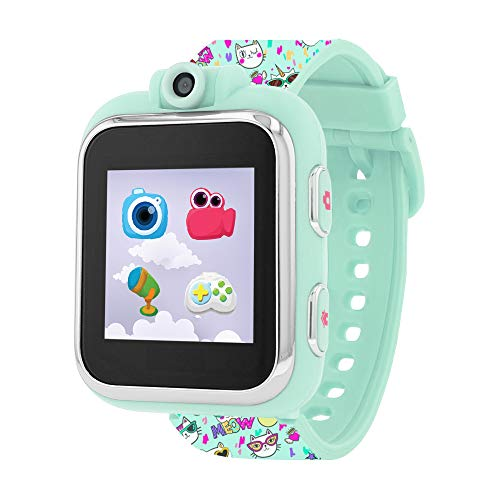 Playzoom Kids Smartwatch with Mint Cat Print Strap