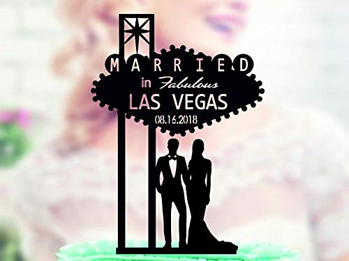 Wini2342ckey Acrylic Cake Topper Welcome to Fabulous Las Vegas Sign, Wedding Topper with Date, Bride and Groom, Married in Las Vegas