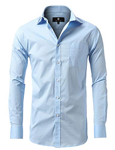 diig Men Slim Fit Long Sleeve Dress Shirt, Light Blue 16