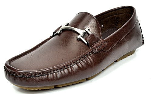 Bruno MARC MODA ITALY OAKLAND-02 Men's Classy On The Go Slip On Fashion Buckle Casual Loafers Driving Moccasin Shoes COFFEE SIZE 9