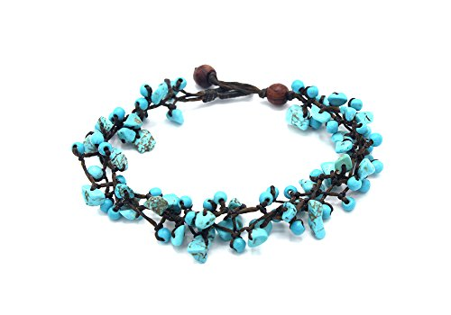 MGD, Blue Turquoise Round and Chip Bead Anklet, 25 CM w/ 1 Inch Extend 3-Strand Anklet, Beautiful Anklet, Girl Handmade Jewelry, JB-0354A Beautiful Turquoise Bracelet