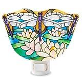 Joan Baker Designs NL1011 Dragonfly/Water Lilies Art Glass Night Light, 4-1/2 by 3-Inch