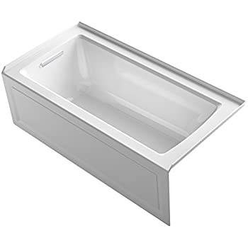 "KOHLER K-1946-LA-0 Alcove Bath with Integral Apron, Tile Flange and Left Hand Drain, 60"" x 30"", White"