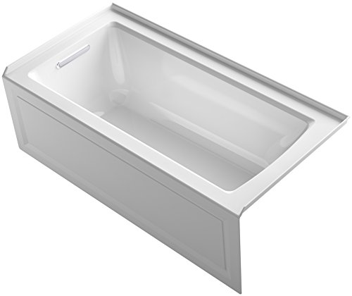 KOHLER K-1946-LA-0 Alcove Bath with Integral Apron, Tile Flange and Left Hand Drain, 60