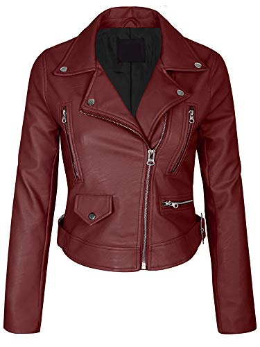 5a522b81be Jual KOGMO Women s Faux Leather Zip up Everyday Bomber Jacket ...