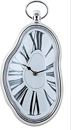 DECOHOUSE Reloj Pared Decorativo Original Dali, Oficina hogar Plateado Blanco