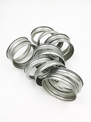 Premium Stainless Steel Rust Resistant Srew Bands / Rings for Mason, Ball, Canning Jars (10 Pack, Wide Mouth) by Afresh Jar (Image #1)