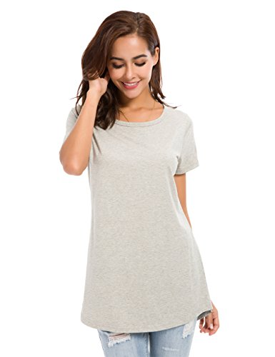 MSHING Women's Short Sleeve Tunic Tops Loose Casual T-Shirt (Women High Quality T-shirt)