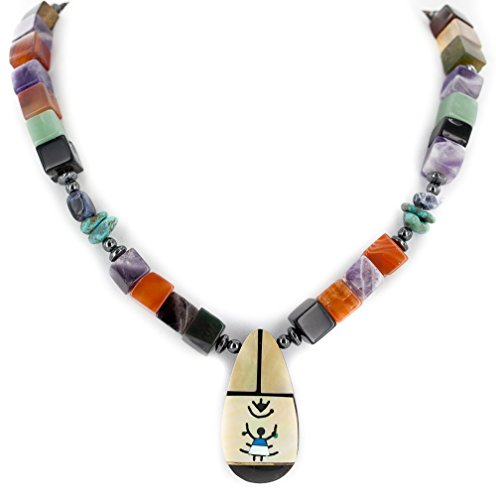 (Certified Authentic Navajo .925 Sterling Silver Inlay Natural Turquoise Mother of Pearl Amethyst Black Onyx Charoite Tigers Eye Hematite Native American Necklace )