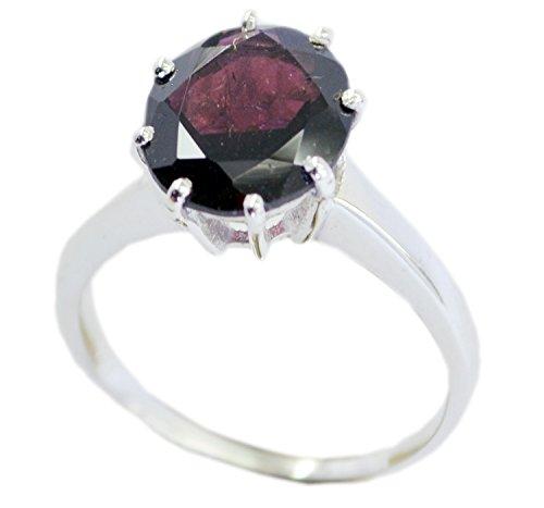 Garnet Silver Ring Chakra Healing Prong Setting Round Gemstone Jewelry Avaliable Size 5,6,7,8,9,10,11,12