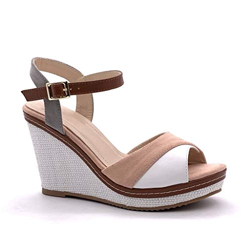retrò Rosa Zeppa Angkorly Sandali Donna Scarpe Intrecciato Espadrillas Cinturino Cm Corda Tacco 10 Color Aperto Vintage Caviglia Con Moda Alla Block qffXwPTR