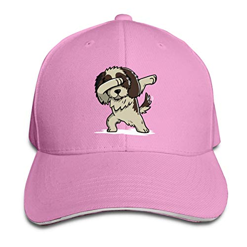 Unisex Dabbing Shih Tzu Cotton Baseball Hat Casual Trucker Hat for Mens Womens Pink