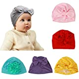 Metable Baby Girl Turban, 6pcs Soft Knot Bow Cap Newborn Hat India Toddler Cap for The Baby from 3 to 12 Months
