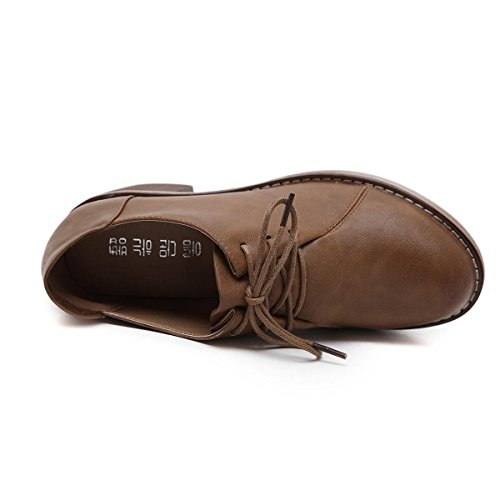 Leisure Mid Brown Chaussures BROWN Black Comfort Simples Lace Up Pompes Head Fall PU Chaussures Nouveau Artificial Heel Work Aileron NVXIE EUR35UK3 Femme Round Spring Winter Party wXqFpOtpUS