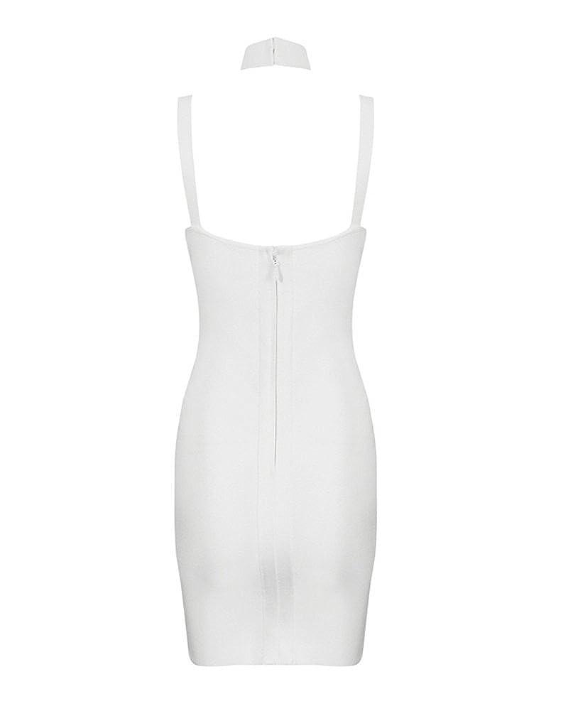 UONBOX WomenHalterneck Strappy Strap Asymmetrical Mini Bodycon Bandage Dress