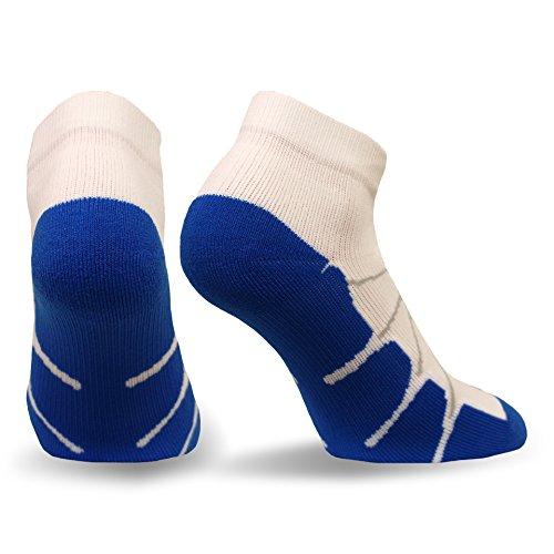 Sox Sport Plantar Fasciitis Arch Support Low Cut Running, Gym Compression Socks, White/Royal, Medium - SS4011