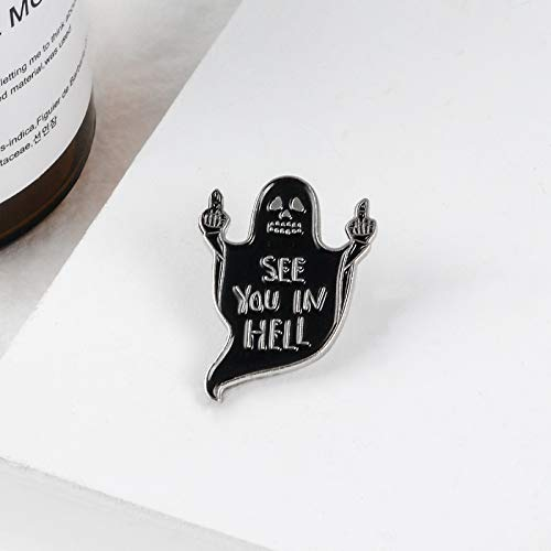 Ghost Enamel Pin Black Specter Middle Finger Death Fxk Brooch Badge Emblem Corsage Lapel Halloween Pins Punk Goth Jewelry Gift for Friends