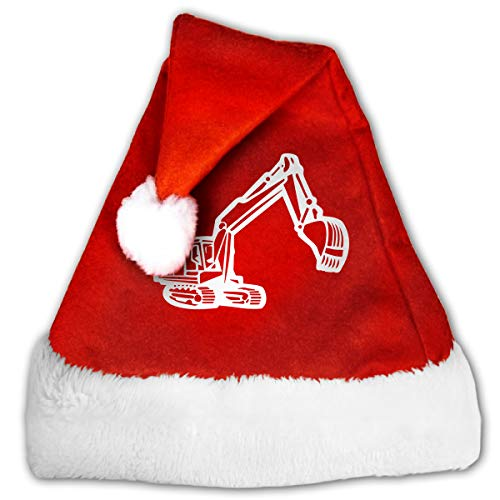 Digger Silhouette 1-1 Christmas Hat, Red&White Xmas Santa Claus' Cap for Holiday Party Hat ()