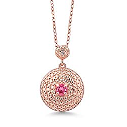 Rose Plated Diamond Pink Topaz Pendant from Swarovski