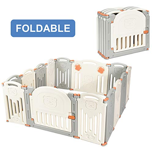 Costzon Baby Playpen, 14-Panel Foldable Kids Safety Activity Center Playard w Walk-Through Locking Gate, Non-Slip Rubber Mats, Adjustable Shape, Portable Design for Indoor Outdoor Use Beige Gray